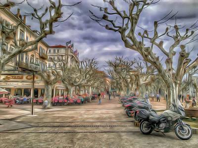 Digital Art - Cannes Park Alley by Yury Malkov