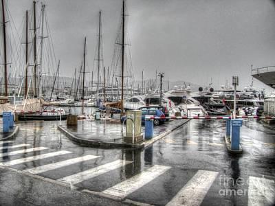 Pyrography - Cannes Street Rain by Yury Bashkin