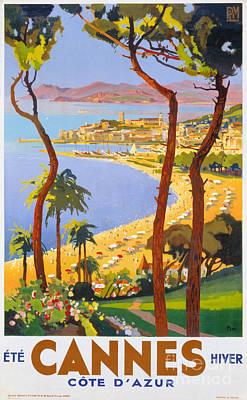 Cannes Vintage Travel Poster Art Print by Carsten Reisinger