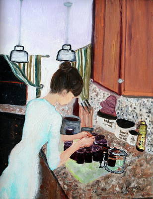 Painting - Canning Blueberry Jam by Aleezah Selinger