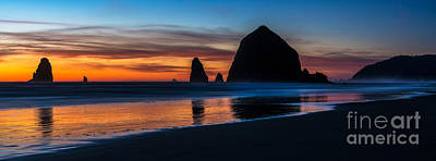 Cannon Beach Dusk Beach Serenity Panorama Print by Mike Reid