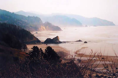 Photograph - Cannon Beach In A White Sunset by Nadalyn Larsen