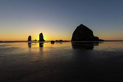 Summer Photograph - Cannon Beach Low Tide Sunset by David Gn