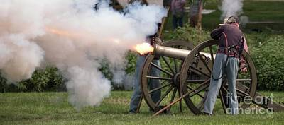 Photograph - Cannon Fire - Re-enactors by David Bearden