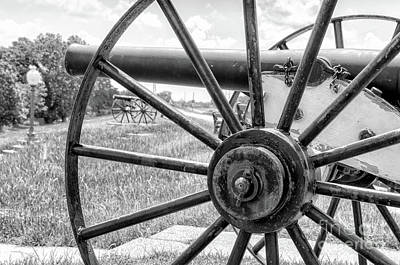Photograph - Cannons On The Levee - Bw by Kathleen K Parker