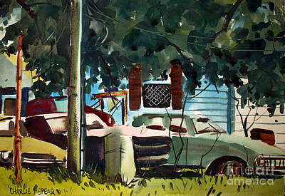 Painting - Cannus Auto And Used Cars Framed by Charlie Spear