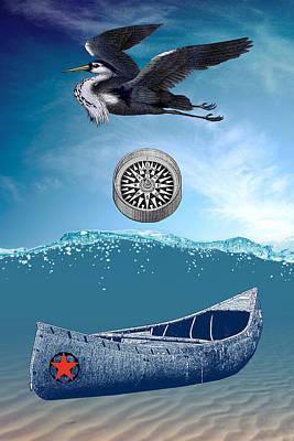 Canoe Digital Art - Canoe Adrift Fantasy Seascape by Sandra McGinley