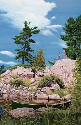Painting - Canoe Among The Rocks by Kenneth M Kirsch