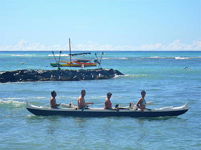Photograph - Canoe At Kaimana by Erika Swartzkopf