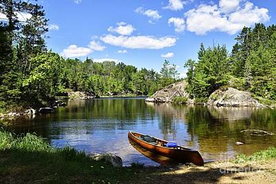 Photograph - Canoe At The Portage Landing -- Slim Lake by Larry Ricker