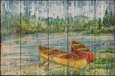 Canoe Painting - Canoe Camp - Distressed by Paul Brent