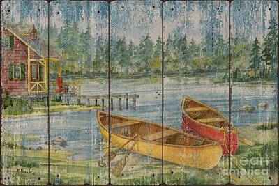 Canoes Painting - Canoe Camp With Cabin - Distressed by Paul Brent