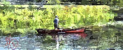 Canoe Digital Art - Canoe Fishing by David Francey