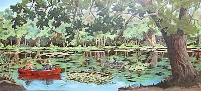 Painting - Canoe Fishing by Tony Caviston