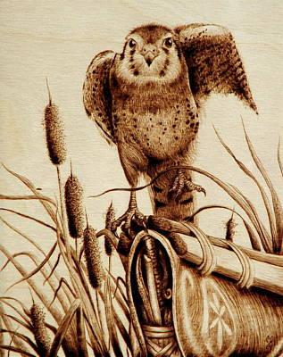 Pyrography Drawing - Canoe Flight by Cara Jordan