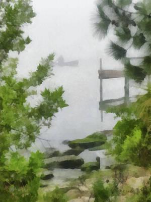 Canoe Digital Art - Canoe In Lake Fog by Francesa Miller