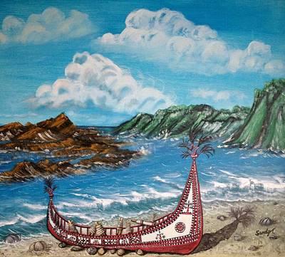 Canoe In Lanyu Island Print by Jo lan Tao
