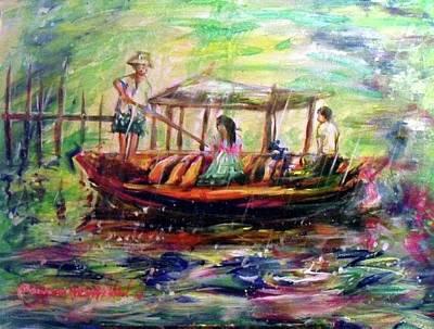 Painting - Canoe In The Rain by Wanvisa Klawklean