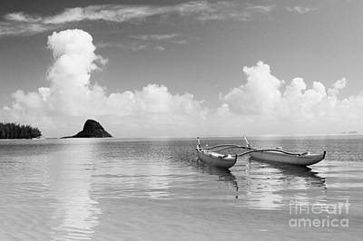 Double Hulled Canoe Photograph - Canoe Landscape - Bw by Joss - Printscapes