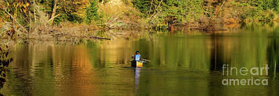 Photograph - Canoe Paddling In Fall by Les Palenik