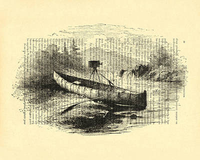Canoe Digital Art - Canoe With Field Camera In Black And White Antique Illustration by Madame Memento