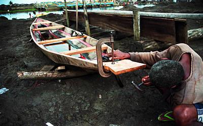 Photograph - Canoe Making B by Muyiwa OSIFUYE