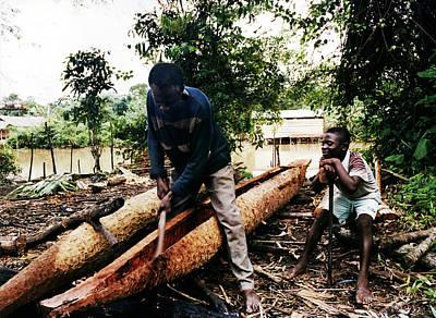 Photograph - Canoe Making Tebi Daba by Muyiwa OSIFUYE