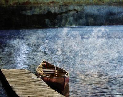 Canoe Digital Art - Canoe On Lake, Alaska by Janet Duffey