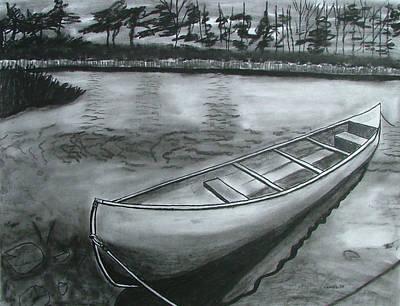 Canoe On Pond Print by Lee Davies