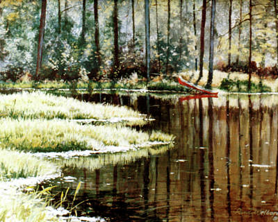 Painting - Canoe On Pond by Randy Welborn