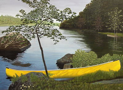 Canoe On The Bay Art Print