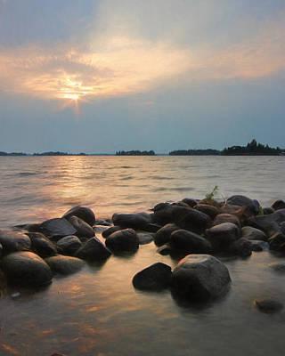 Canoes Mixed Media - Canoe Point Sunset by Lori Deiter