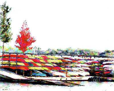 Canoe Digital Art - Canoe Rack by Leslie Montgomery