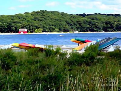 Digital Art - Canoe Racks by Ed Weidman