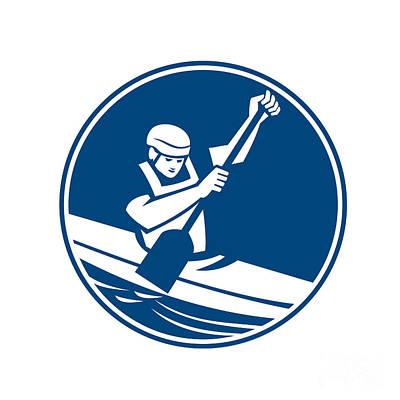 Canoe Digital Art - Canoe Slalom Circle Icon by Aloysius Patrimonio