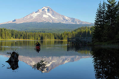 Outdoors Photograph - Canoeing At Trillium Lake by David Gn