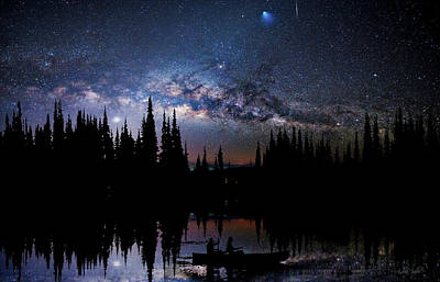 Canoeing - Milky Way - Night Scene Art Print