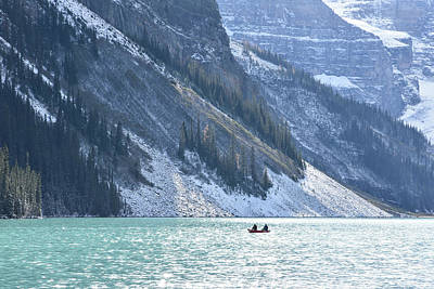 Photograph - Canoeing On Lake Louise by Keith Boone