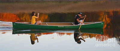 Photograph - Canoeing The Autumn Sunset - Reflection Of Good Times by Scott D Van Osdol