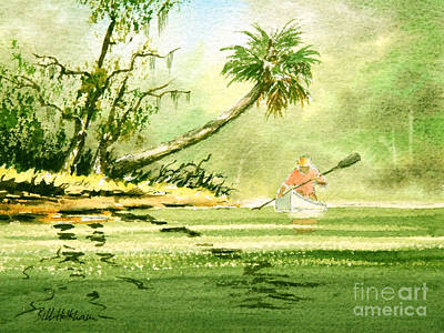 Painting - Canoeing The Rivers Of Florida by Bill Holkham