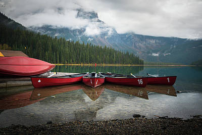 Photograph - Canoes At Emerald Lake by James Udall