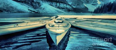 Photograph - Canoes Banff Mug by Edward Fielding