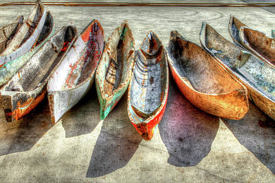 Colorful Boats Wall Art - Photograph - Canoes by Debra and Dave Vanderlaan