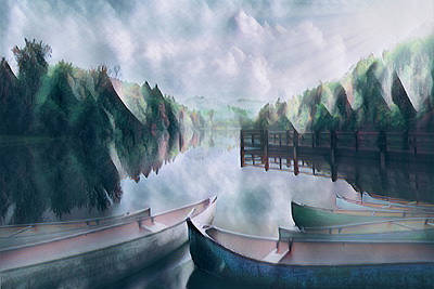 Photograph - Canoes In Lakeside Abstracts by Debra and Dave Vanderlaan