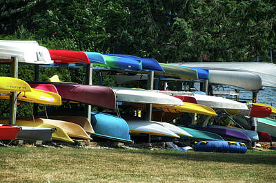 Canoe Mixed Media - Canoes In Many Colors 01 by Thomas Woolworth