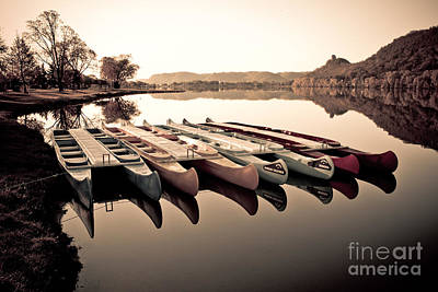 Canoes In The Early Morning Art Print