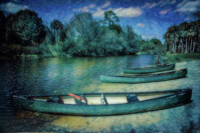 Photograph - Canoes In The Summer Caribbean Colors by Debra and Dave Vanderlaan