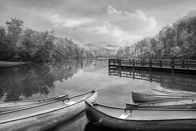 Photograph - Canoes On A Misty Morning Black And White by Debra and Dave Vanderlaan