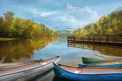Photograph - Canoes On A Misty Morning by Debra and Dave Vanderlaan