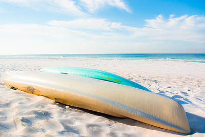 Landscape Photograph - Canoes On The Beach In Seaside Florida by Shelby Young